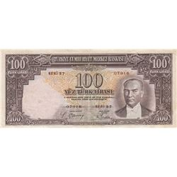 Turkey, 100 Lira, 1938, XF (-), 2/1. Emission, p130br/serial numbe: B7 07916, natural