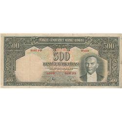 Turkey, 500 Lira, 1939, VF, 2/1. Emission, p131br/Atatürk portrait, serial number: D3 0389