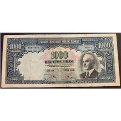 Turkey, 1.000 Lira, 1940, VF, 2/2. Emission, p139br/Inönü portrait, serial number: D18 0913, natural