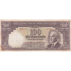 Turkey, 100 Lira, 1938, FINE, 2/1. Emission, p130br/Inönü portrait, serial number: F24 01076, presse