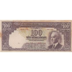 Turkey, 100 Lira, 1942-44, VF (+), 2/1. Emission, Unlistedbr/serial number: F25 06193, natural, rust