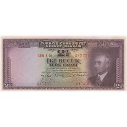 Turkey, 2 1/2 Lira, 1947, UNC, 3/1. Emission, p140br/Inönü portrait, serial number: A30 283737, ther