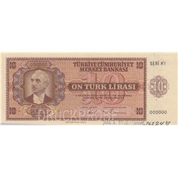 Turkey, 10 Lira, 1942, UNC, 3/1. Emission, p142, SPECIMENbr/Inönü portrait, serial number: A1 00000