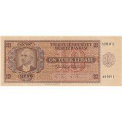 Turkey, 10 Lira, 1942, XF, 3/1. Emission, p141br/Inönü portrait, serial number: B10 497697, lightly