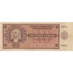 Turkey, 10 Lira, 1942, VF, 3/1. Emission, p141br/Inönü portrait, serial number: B7 085402