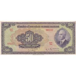 Turkey, 50 Lira, 1942, AUNC, 3/1. Emission, p142br/Inönü portrait, serial number: N8 00237