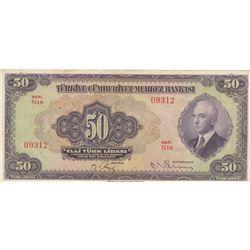 Turkey, 50 Lira, 1942, XF, 3/1. Emission, p142br/Inönü portrait, serial number: N18 09312, natural