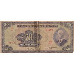 Turkey, 50 Lira, 1942, POOR, 3/1. Emission, p142br/Inönü portrait, serial number: P1 04298