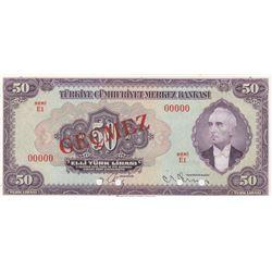 Turkey, 50 Lira, 1947, UNC, 3/2. Emission, p143a, SPECIMENbr/Inönü portrait, serial number: E1 00000