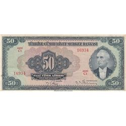 Turkey, 50 Lira, 1947, XF, 3/2. Emission, p143br/serial number: C1 16934, natural
