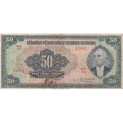 Turkey, 50 Lira, 1947, VF (-), 3/2. Emission, p143br/Atatürk portrait, serial number: A3 13881