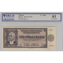 Turkey, 100 Lira, 1942, UNC, 3/1. Emission, p144br/WBG 61, serial number: B4 019033