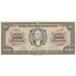 Turkey, 500 Lira, 1946, VF (+), 3/1. Emission, p145br/Inönü portrait, serial number: A1 07030, natur