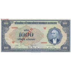Turkey, 1.000 Lira, 1946, UNC, 3/1. Emission, p146, SPECIMENbr/Inönü portrait, serial number: 00000