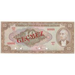 Turkey, 10 Lira, 1948, UNC, 4/2. Emission, p148, SPECIMENbr/Inönü portrait, serial number: A1 00000