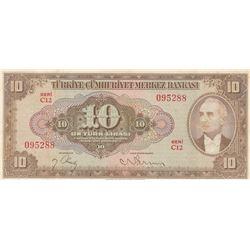 Turkey, 10 Lira, 1948, XF, p148br/serial number: C12 095288, natural