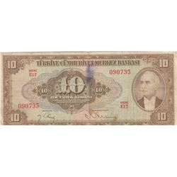 Turkey, 10 Lira, 1948, VF, p148br/natural, Inönü portrait, serial number: E17 090735