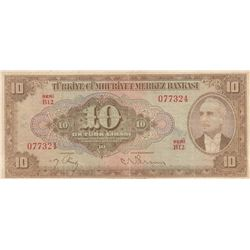 Turkey, 10 Lira, 1948, VF (+), 4/2. Emission, p148br/Inönü portrait, serial number: B12 077324