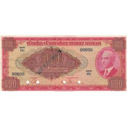Turkey, 500 Lira, 1947, AUNC (+), 4. Emission, SPECIMENbr/Unprinted, with the example of the 4th Emi