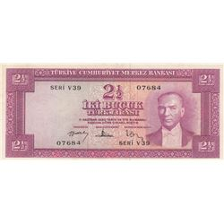Turkey, 2 1/2 Lira, 1957, XF, 5/3. Emission, p152br/Atatürk portrait, serial number: V39 07684, pres