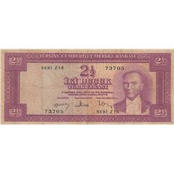 Turkey, 2 1/2 Lira, 1957, FINE, 5/3. Emission, p152br/Atatürk portrait, serial number: Z14 73705
