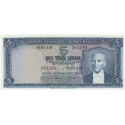 Turkey, 5 Lira, 1959, UNC, 5/2. Emission, p155br/Atatürk portrait, serial number: E19 265295