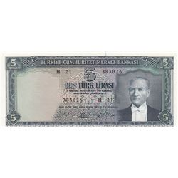 Turkey, 5 Lira, 1965, UNC, 5/4. Emission, p174br/Atatürk portrait, serial number: H21 383026