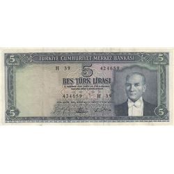 Turkey, 5 Lira, 1965, XF, 5/4. Emission, p174br/Atatürk portrait, serial number: H39 424659, natural