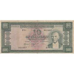 Turkey, 10 Lira, 1960, FINE (-), 5/4. Emission, p159br/Atatürk portrait, serial number: Z31 041607