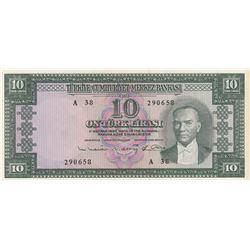 Turkey, 10 Lira, 1963, AUNC, 5/6. Emission, p161br/Atatürk portrait, serial number: A38 290658
