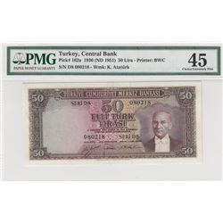 Turkey, 50 Lira, 1951, XF, 5/1. Emission, p162br/PMG 45, Atatürk portrait, serial number: D8 080218