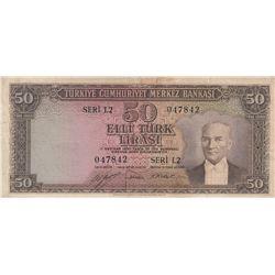 Turkey, 50 Lira, 1953, VF, 5/2. Emission, p163br/serial number: L2 047842