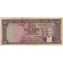 Turkey, 50 Lira, 1953, VF, 5/2. Emission, p163br/serial  number: M1 005712