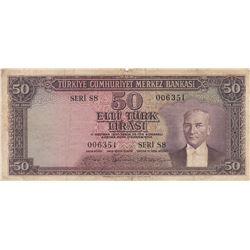 Turkey, 50 Lira, 1956, FINE, 5/3. Emission, p164br/serial number: S8 006351