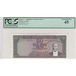 Turkey, 50 Lira, 1964, XF, 5/6. Emission, p175br/PCGS 45, Atatürk portrait, serial number: J41 00722