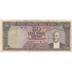 Turkey, 50 Lira, 1964, VF, 5/6. Emission, p175br/Atatürk portrait, serial number: M51 011888
