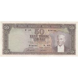 Turkey, 50 Lira, 1971, XF, 5/7. Emission, p187A br/serial number: V65 014144