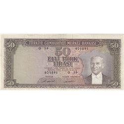 Turkey, 50 Lira, 1971, VF, 5/7. Emission, p187A br/serial number: O59 021891