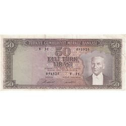 Turkey, 50 Lira, 1971, VF, p187a br/Atatürk portrait, serial number: V31 051525, natural