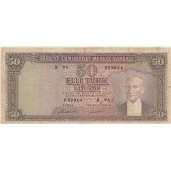 Turkey, 50 Lira, 1971, FINE, 5/7. Emission, p187A br/Atatürk portrait, serial number: S95 089064