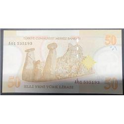 """Turkey, 50 New Turkish Lira, 2005, UNC, p220, """"A01""""br/Atatürk portrait, serial number: A01 535193"""