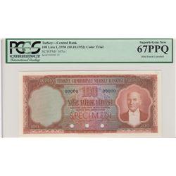 Turkey, 100 Lira, 1952, UNC, 5/1. Emission, p167, COLOR TRIAL SPECIMENbr/PCGS 66 PPQ, Atatürk portra