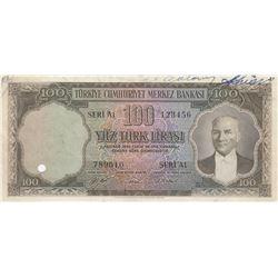 Turkey, 100 Lira, 1952, XF (+), 5/1. Emission, p167, SPECIMENbr/serial number: A1 123456 789010, nat