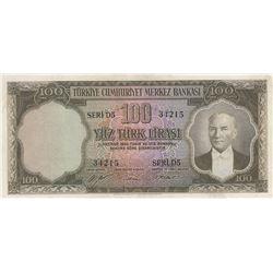 Turkey, 100 Lira, 1952, XF, 5/1. Emission, p167br/Atatürk portrait, serial number: D5 31215, pressed