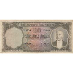 Turkey, 100 Lira, 1952, FINE, 5/1. Emission, p167br/serial number: A5 03646