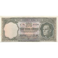 Turkey, 100 Lira, 1962, XF, 5/4. Emission, p176br/Atatürk portrait, serial number: U08 023299