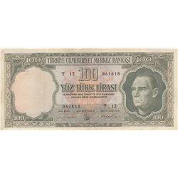 Turkye, 100 Lira, 1962, VF/XF, 5/4. Emission, p176br/serial number: T12 061618