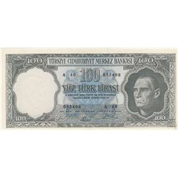 Turkey, 100 Lira, 1964, XF, 5/5. Emission, p177br/Ataürk portrait, serial number: A40 054408, lightl