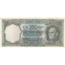 Turkey, 100 Lira, 1964, XF (-), 5/5. Emission, p177br/Atatürk portrait, serial number: C36 060442, l