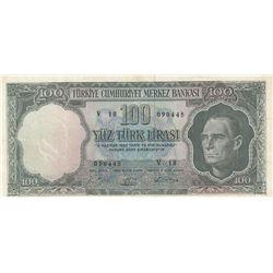 Turkey, 100 Lira, 1964, XF, 5/5. Emission, p177br/Atatürk portrait, serial number: V18 090445, light